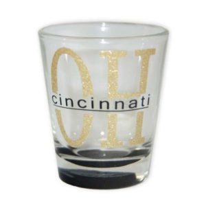 Cincinnati Gold Glitter Shot Glass