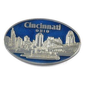 Cincinnati Oval Pewter Magnet