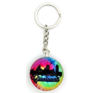 Cincinnati Tie-Dye Bubble Keychain