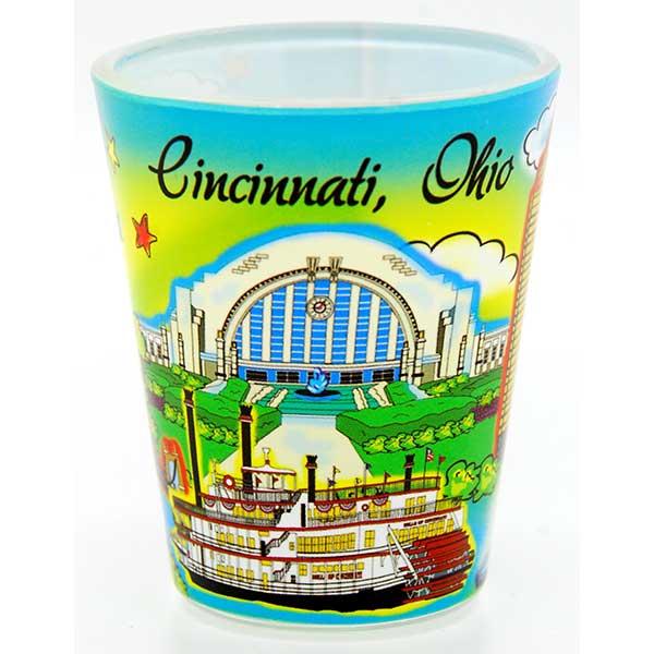Cincinnati Watercolor Shot Glass