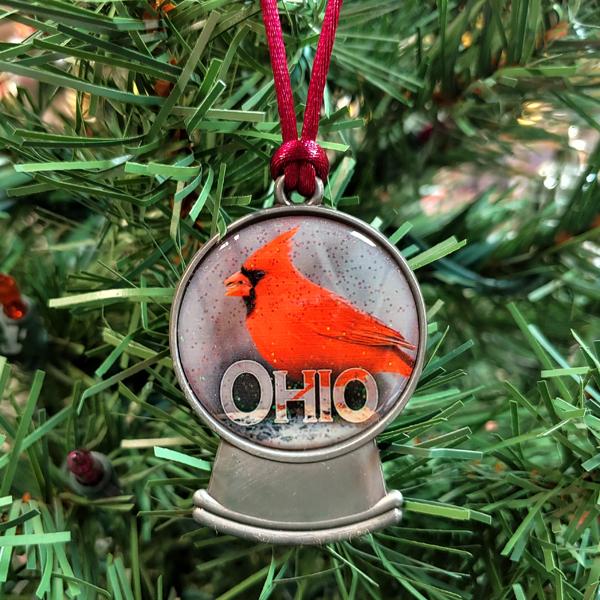 Ohio Cardinal Snowglobe Ornament