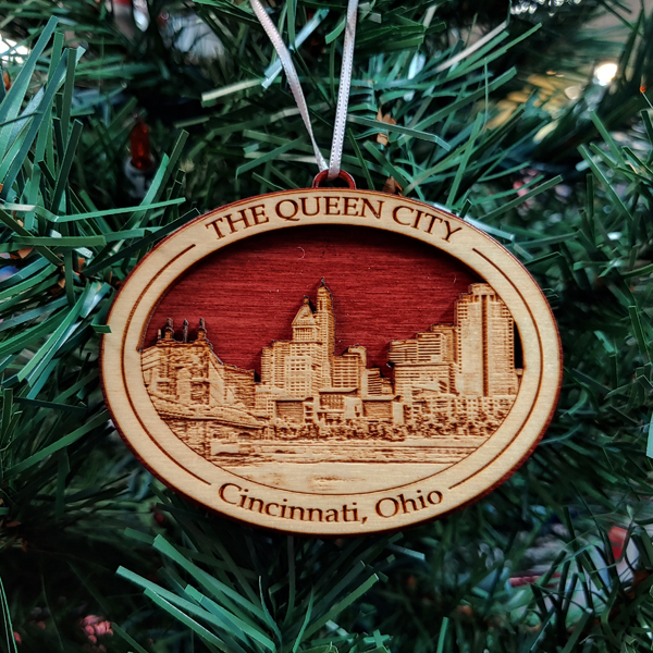 Cincinnati Skyline Wood Ornament