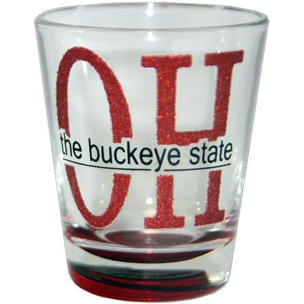 Ohio Red Glitter Shot Glass