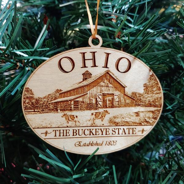 Ohio Wood Farm Ornament