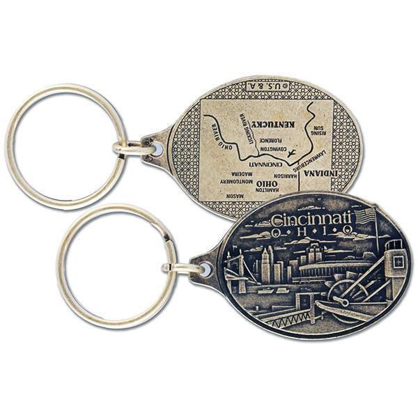 Cincinnati Antique Brass Keychain