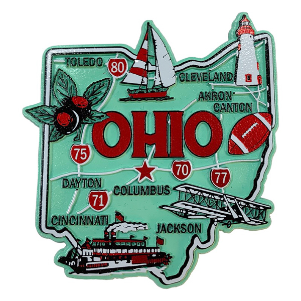 Green Ohio Rubber Map Magnet