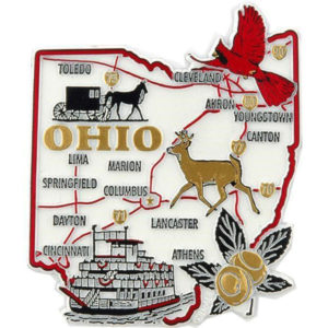 White Ohiio Rubber Map Magnet